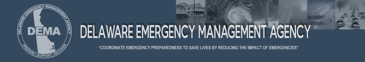 Delaware Emergency Management Banner showing weather related emergencies